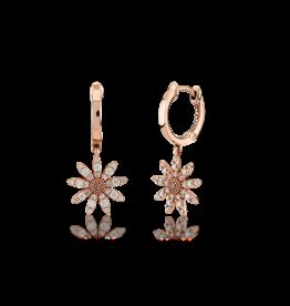 Kurshuni Jewellery Rose Gold Daisy drop hoops
