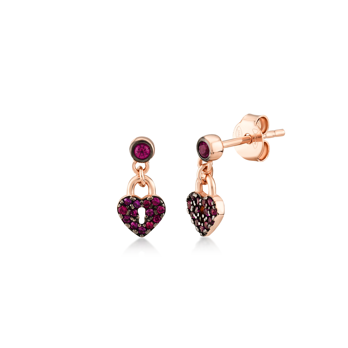 Kurshuni Jewellery Rose Gold Heart Lock Studs