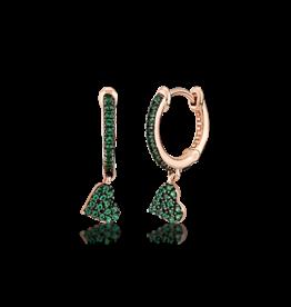 Kurshuni Jewellery Rose Gold Green Heart Drop Hoop