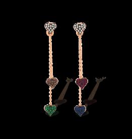 Kurshuni Jewellery Rose Gold Heart Chain Drop Stud