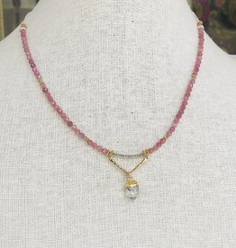 Howling Dog Serene Necklace- Rose Quartz