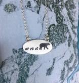 "Olive Cedar Three Cubs + Mama Bear Necklace 18"""