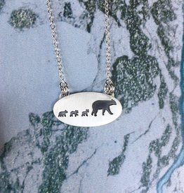 Olive Cedar Three Cubs + Mama Bear Necklace 18""