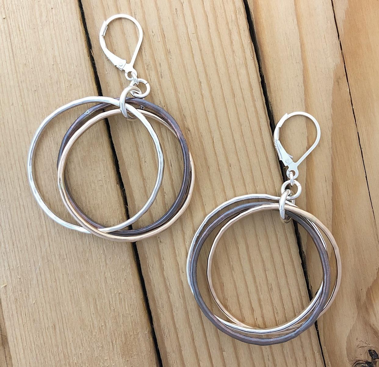 Karyn Chopik Silver, Copper & Brass Triple Ring Earring