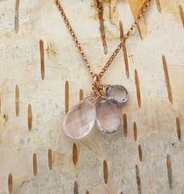 Dianne Rodger Rose Gold Necklace w Teardrop Iolite/Amethyst/Rose quartz