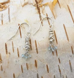 Dianne Rodger Sterling Micro Twist Drop Earring w Aquamarine