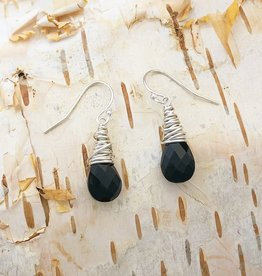 Dianne Rodger Silver Black Onyx Petal Earrings