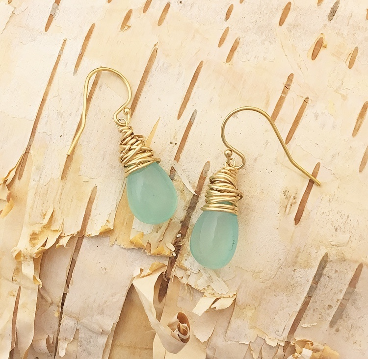 Dianne Rodger Gold Aqua Chalcedony Petal Earring