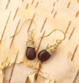Dianne Rodger Gold Garnet Petal Earrings