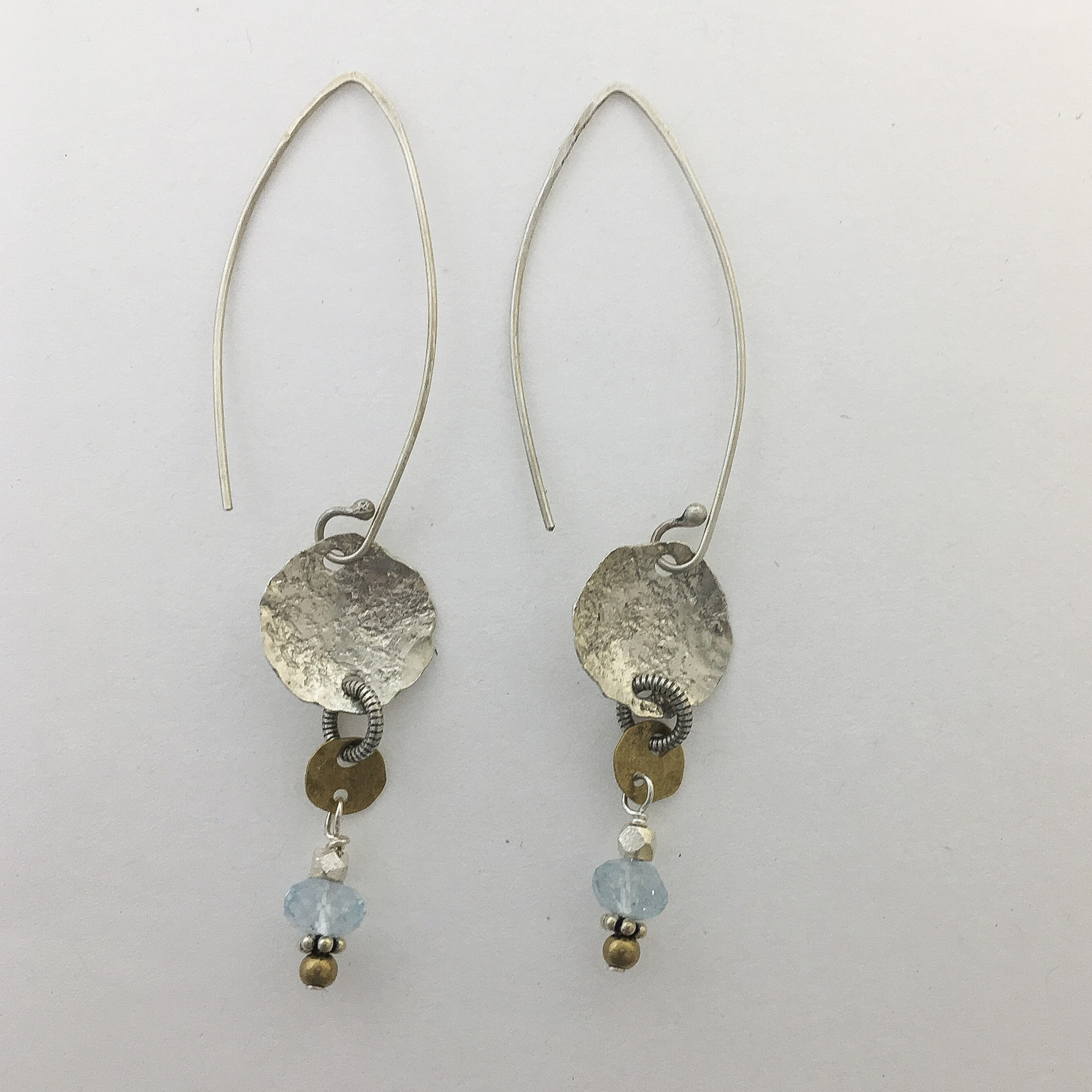 Pax Sterling Wire Earrings w Disc and Blue Topaz drop