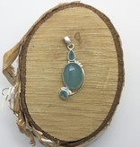 "Bamiyan Silver Chalcedony Pendant on 22"" Curb"