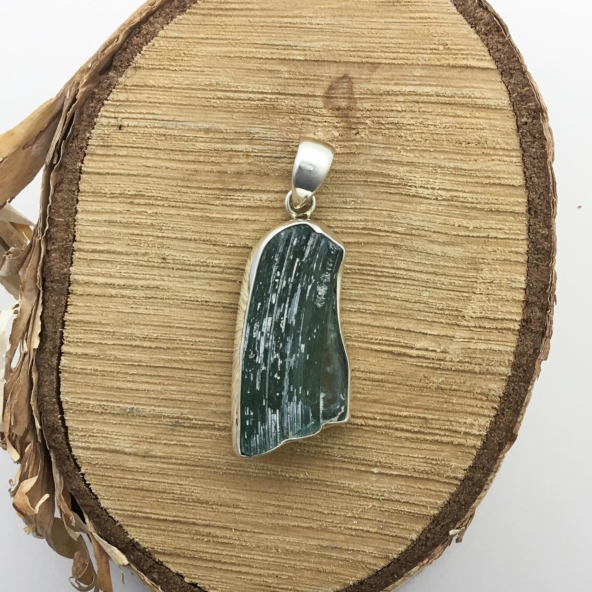 "Bamiyan Silver Roman Glass Pendant on 18"" Spiga"