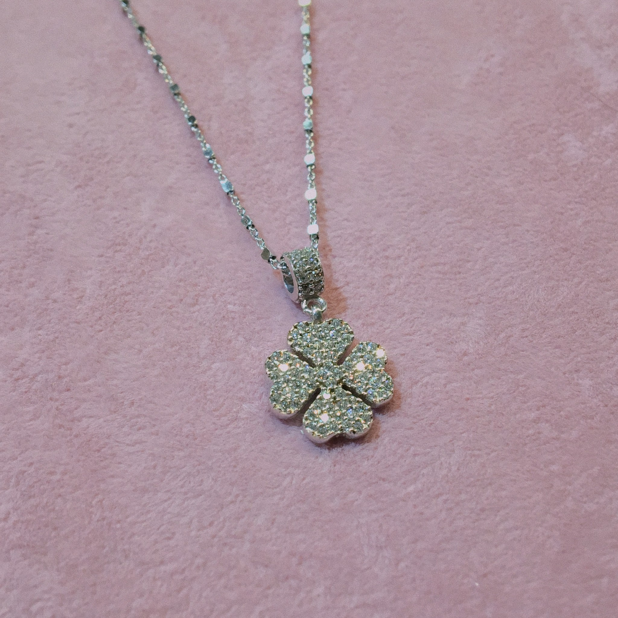 Kurshuni Jewellery Silver Four Leaf Clover  Choker