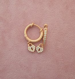 Kurshuni Jewellery Rose Gold Heart Lock Drop Hoop