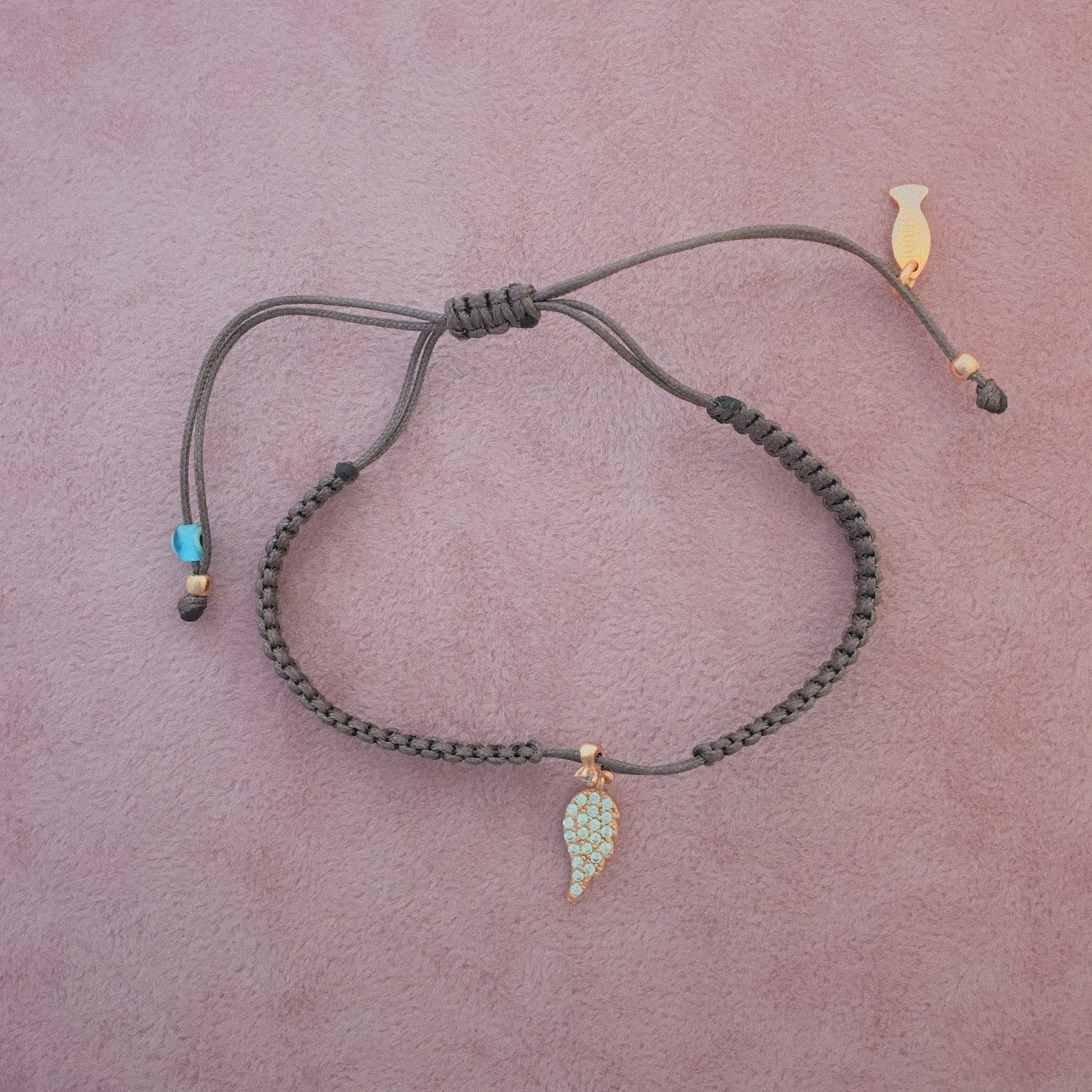 Kurshuni Jewellery Pave Angel Wing Bracelet Taupe/ Rose