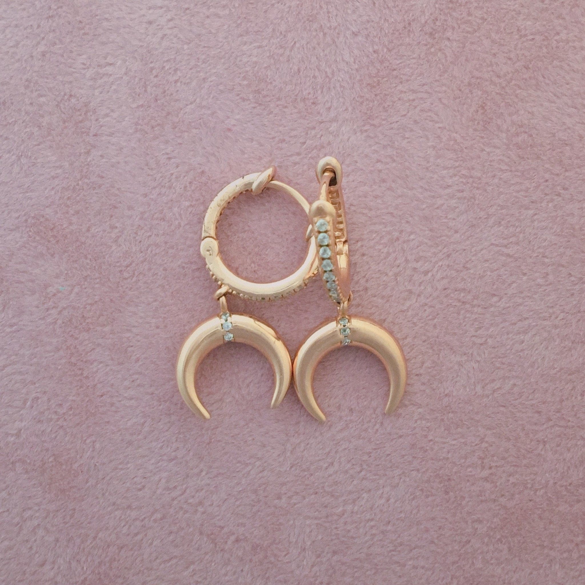 Kurshuni Jewellery Rose Gold Cresent Moon Hoop