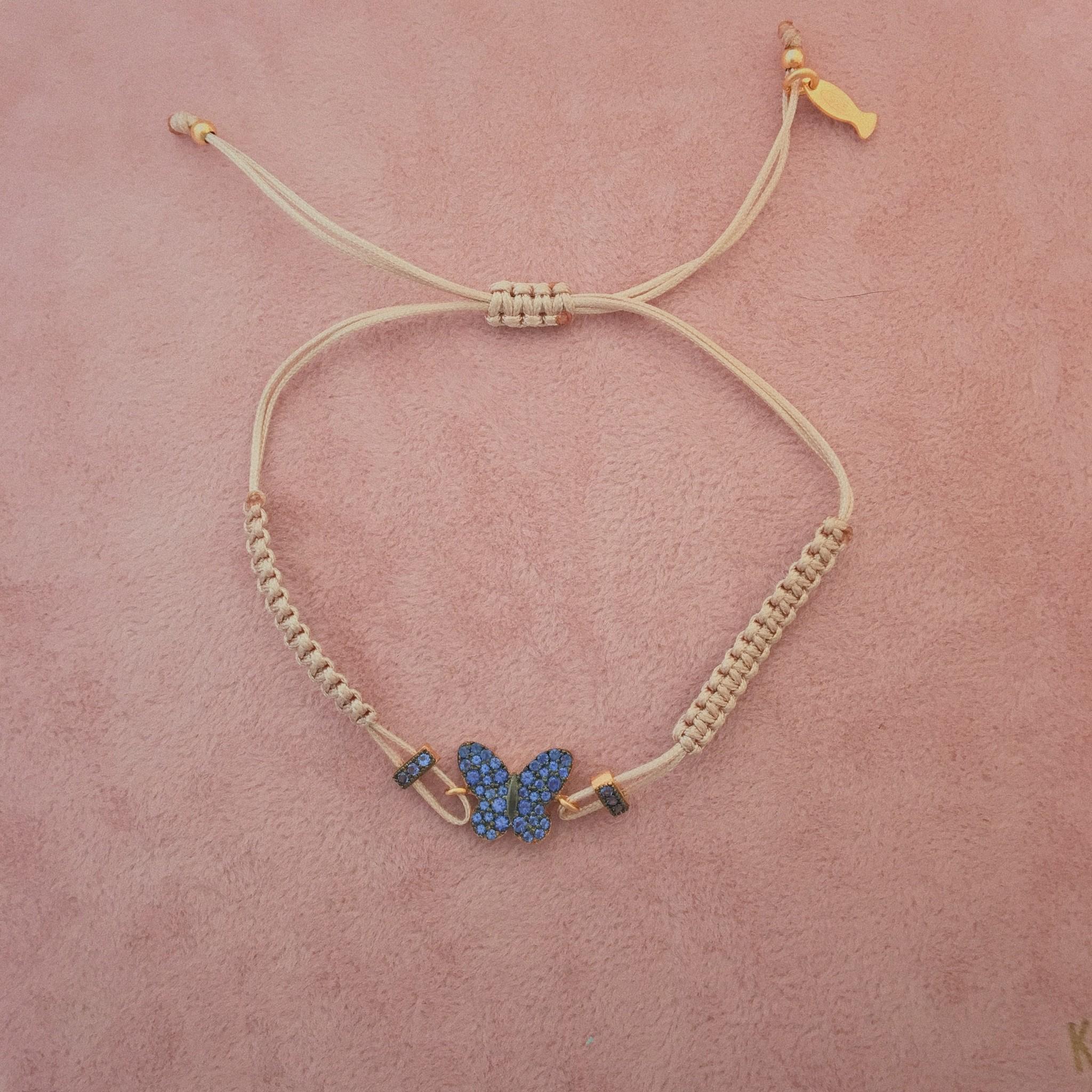 Kurshuni Jewellery Blue Pave Butterly Pull Cord Nude