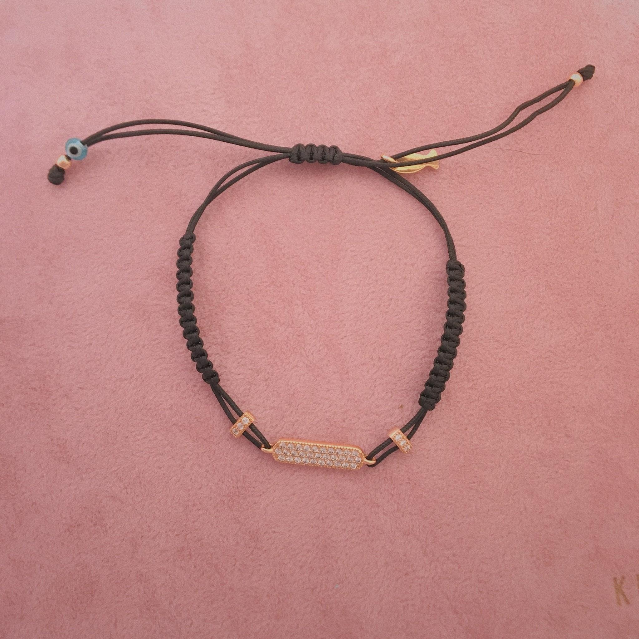 Kurshuni Jewellery Rose Gold Bar w Cz Black Pull Cord