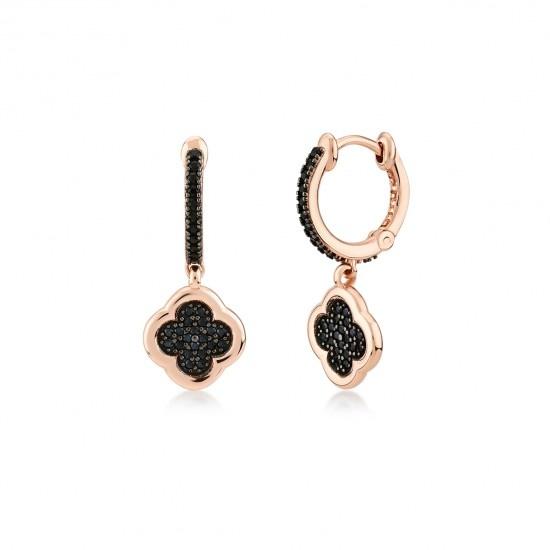 Kurshuni Jewellery Black Pave Lucky Flower Hoop