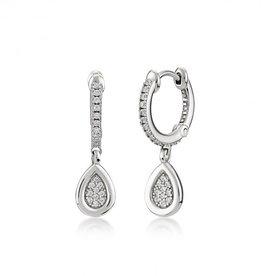 Kurshuni Jewellery Silver Pave Tear Drop Hoop