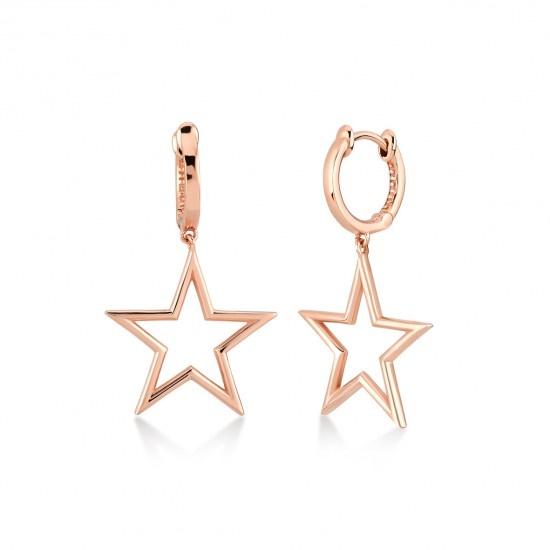 Kurshuni Jewellery Rose Gold Star Hoops