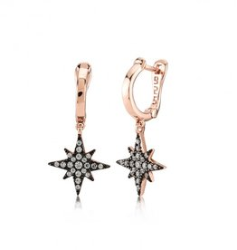 Kurshuni Jewellery Rose Gold North Star Drop Hoops