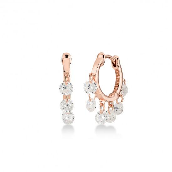 Kurshuni Jewellery Rose Gold CZ Flutter Hoops