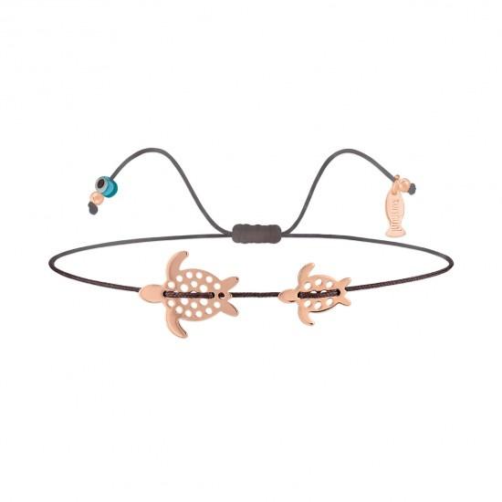 Kurshuni Jewellery Taupe and Rose Gold Turtle Pull Cord