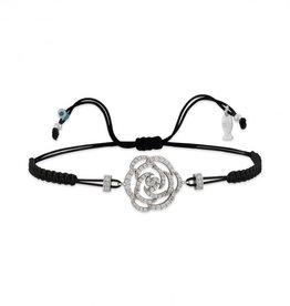 Kurshuni Jewellery Silver Pave Rose Pull Cord