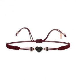 Kurshuni Jewellery Black Pave Heart Pull Cord