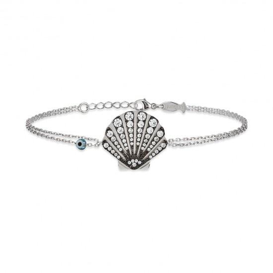 Kurshuni Jewellery Silver Pave Shell Bracelet