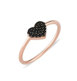 Kurshuni Jewellery Black Pave Heart Ring Rose Gold