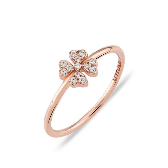 Kurshuni Jewellery Rose Gold Pave Flower Ring