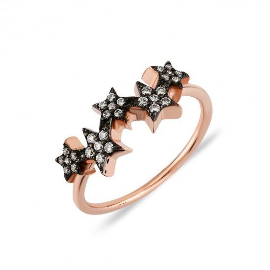 Kurshuni Jewellery Rose Gold Multi Star CZ Ring