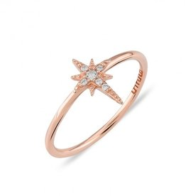 Kurshuni Jewellery Rose Gold North Star Ring Size 7