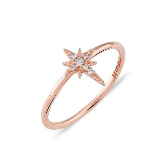 Kurshuni Jewellery Rose Gold North Star Ring Size 7