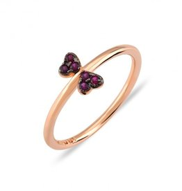Kurshuni Jewellery Rose Gold Magenta Butterfly Ring Size 6