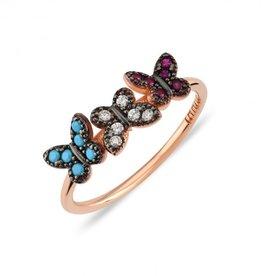 Kurshuni Jewellery Rose Gold 3 Butterfly Ring Size 6