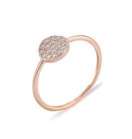 Kurshuni Jewellery Rose Gold Pave Circle Ring Size 6