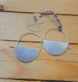 Olive Cedar Sterling Half Moon Earring- Blank