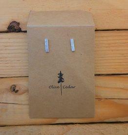 Olive Cedar Hammered Bar Stud