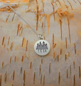 Olive Cedar Family of Trees Necklace 18""
