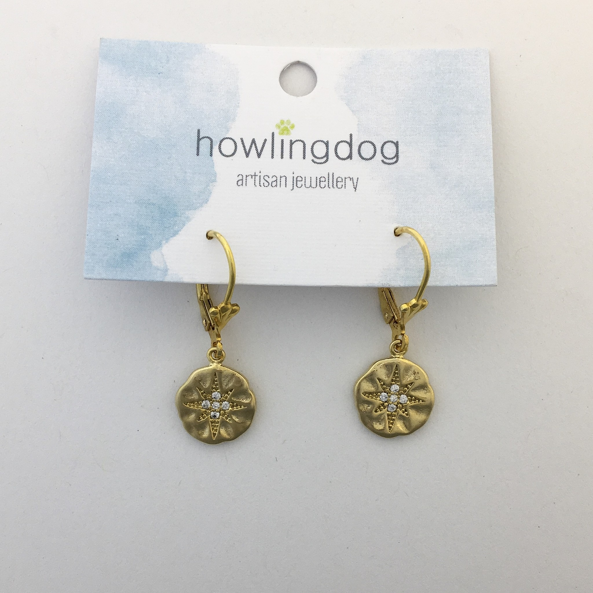 Howling Dog Howling Dog Earring- Gold Compass w CZ