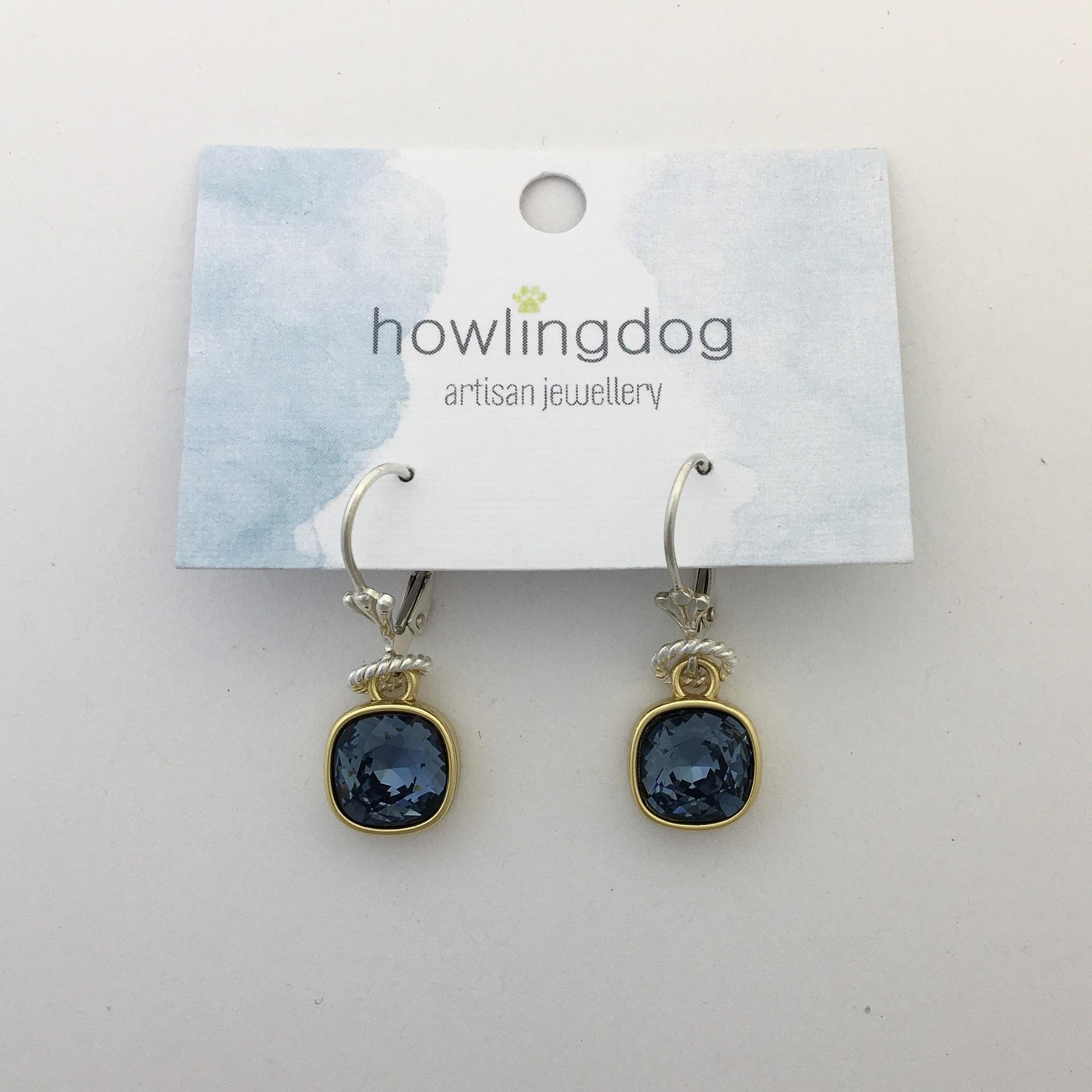 Howling Dog Howling Dog Earring- Blue Smoke Swarovski Drop Gold/Silver