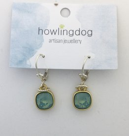 Howling Dog Howling Dog Earring- Mint Swarovski Drop Silver/Gold