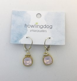 Howling Dog Howling Dog Earring- Light Pink Swarovski Drop Silver/Gold