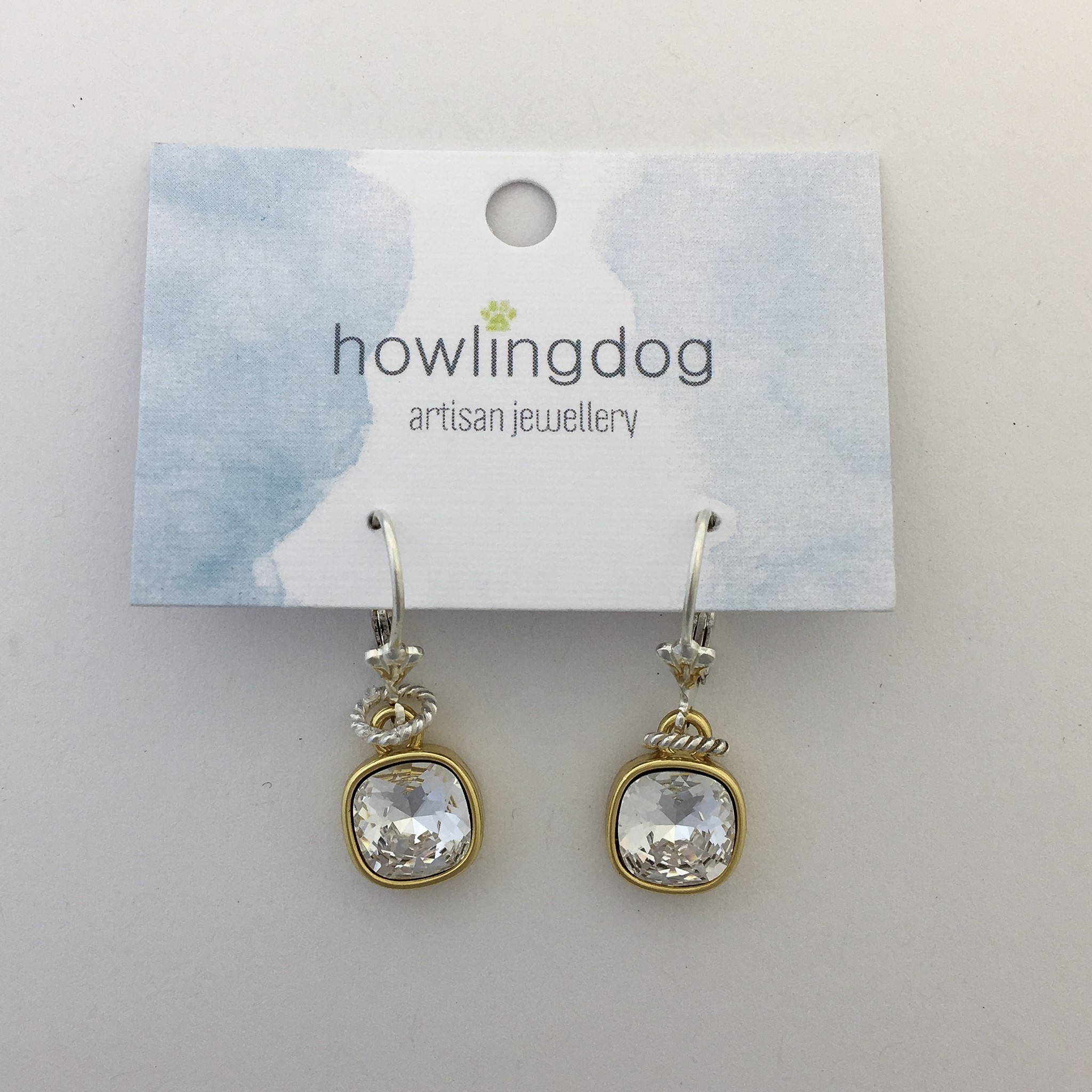 Howling Dog Howling Dog Earring- Clear Swarovski Drop Silver/Gold