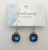 Howling Dog Howling Dog Earring- Mermaid Blue Swarovski Drop Silver/Gold