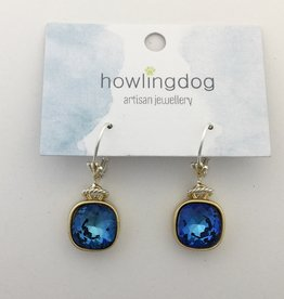 Howling Dog Howling Dog Earring- Mermaid Blue Swarovski Drop Silver/Gold