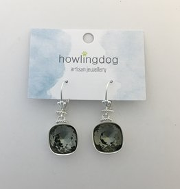 Howling Dog Howling Dog Earring- Grey Swarovski Drop
